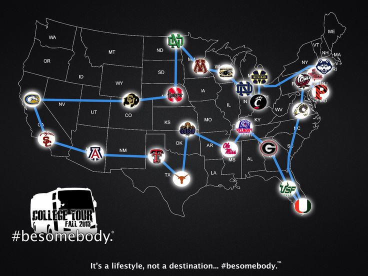 Fall 2013 Tour map. - #besomebody. #bebottlefree