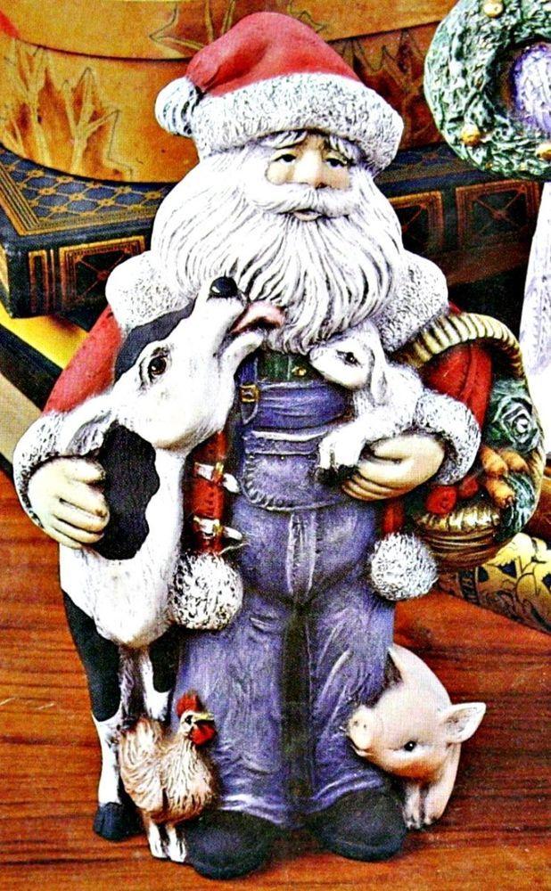 "CERAMIC BISQUE CHRISTMAS ""FARMER"" SANTA W ITH ANIMALS- READY TO PAINT"