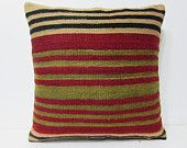 kilim pillow 24x24 large kelim rug big kilim pillow large bohemian pillow wool cushion cover retro throw pillow modern cushion cover 24847