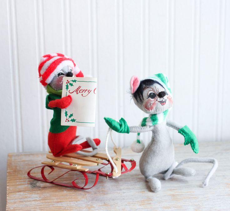 Vintage Christmas Decorations Mouse Carolers Set Jasco: Vintage Caroler Sled Rider