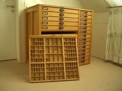 Vintage printers cabinet - great storage for crafting finds