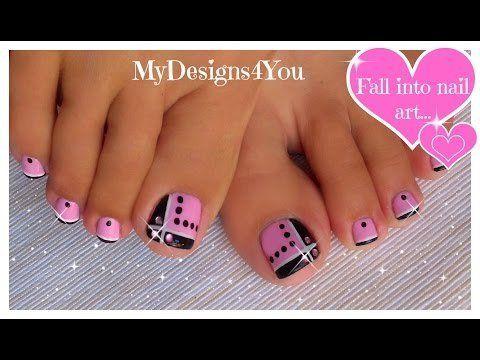 Toenail+Art+Design+|+Pink+and+Black+Toes+♥+Черно-Розовый+Педикюр
