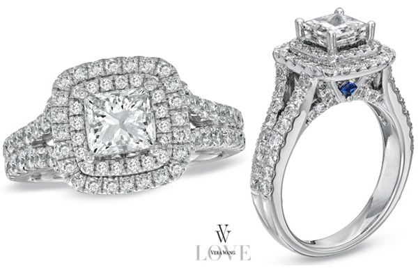 Princess-Cut Engagement Rings from the Vera Wang LOVE collection (A collection of diamond engagement rings and wedding bands exclusively at Zales).