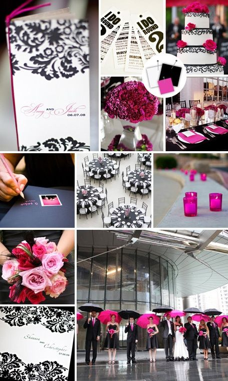 black white hot pink wedding