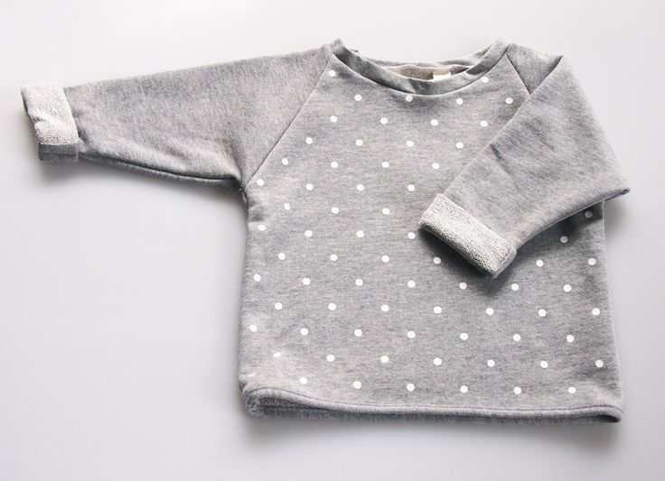 Handmade Unisex Baby Cropped Sweater - White Spots on Grey. $49.00, via Etsy.