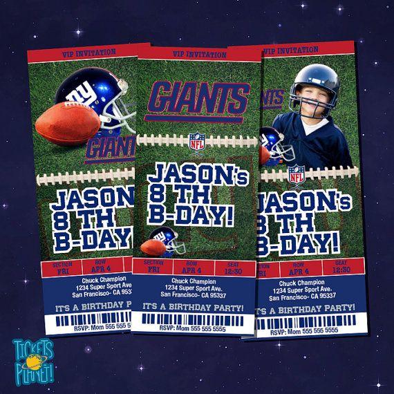 NY GIANTS Tickets Birthday Invitation Card NY Giants  by TicketsPlanet, $10.00 - NY GIANTS