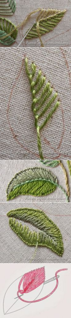 (1) Anna Scott : Blanket stitch leaves - part one   Embroidery