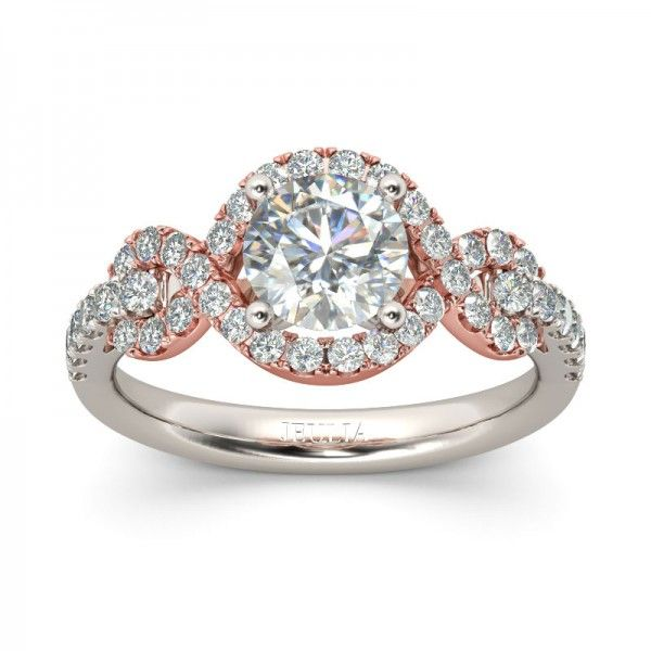 Jeulia Knot Design Halo Two Tone Round Cut Created White Sapphire Engagement Ring
