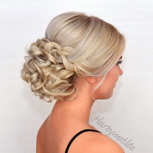 Half Sleek Half Curly Blonde Updo                                                                                                                                                                                 More
