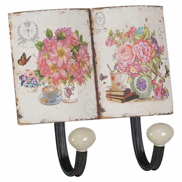 Μεταλλικη κρεμάστρα 2 θέσεων ροζ τριαντάφυλλο. Δημιουργείστε μια ρομαντική πινελιά στο σπίτι σας.