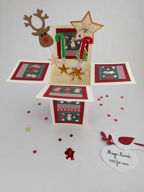 Carte boîte Pop-Up Noël Renne étoiles et sucres d'orge