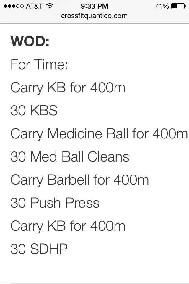 FT: carry KB for 400m, 30 KBS, carry medicine ball for 400m, 30 MB cleans, carry barbell for 400m, 30 push press, carry KB for 400m, 30 SDHP
