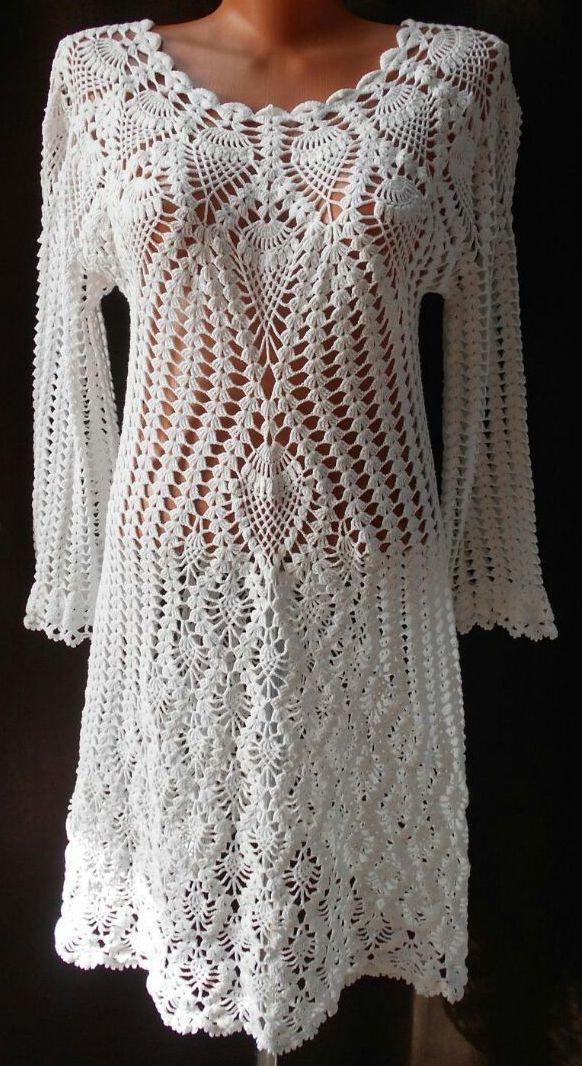 Clouds White Crochet Dress