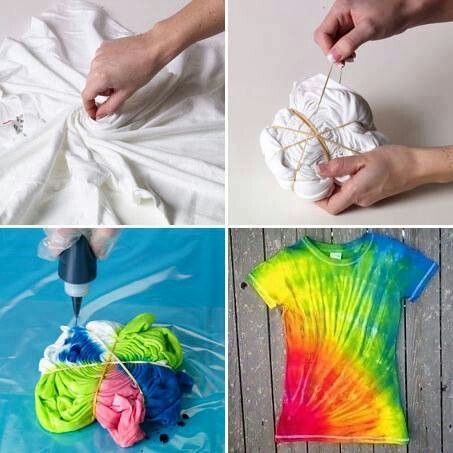 Tye dye t-shirt.  Use Kool-Aid and white vinegar.  #DIY  (Solution of unsweetened Kool Aid, 4 cups warm water  1 cup white vinegar in a container, tie a rubber band around a section of the t-shirt and soak for several hours.
