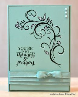 handmade sympathy card from JanB Handmade Cards Atelier ... mint with black ink and mat and white pearls and dots .. luv the triple ribbon warp on the main panel ... luv the gel pen enhancement on the flourish ... great card!