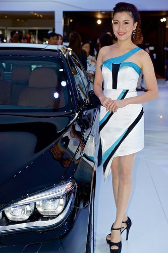 Beautiful, sexy presenter for BMW at the 30th Thailand International Motor Expo 2013