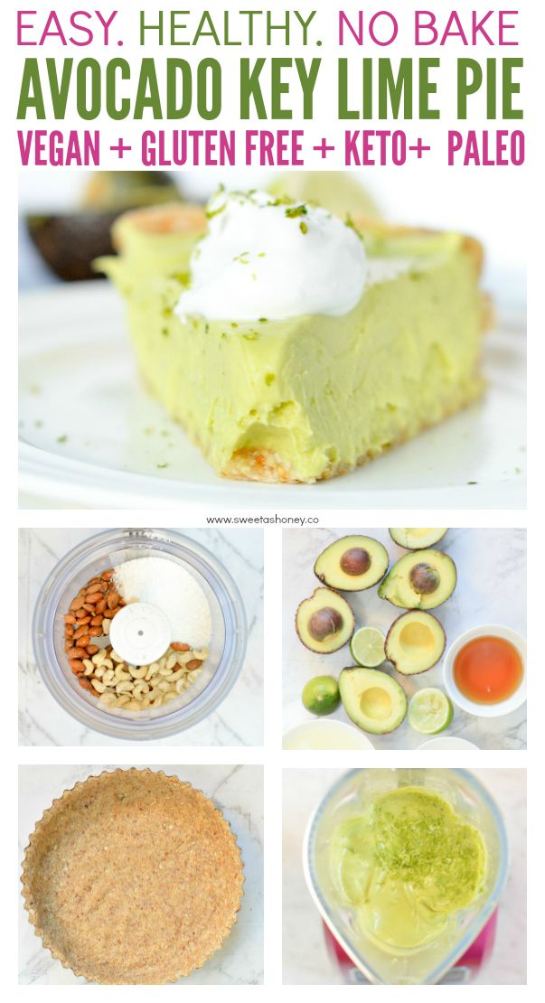 Avocado Key Lime Pie Vegan No Bake And Low Carb An Healthy Raw Desserts With A Coconut Almonds And Cashew With Images Vegan Key Lime Pie Paleo Key Lime Pie