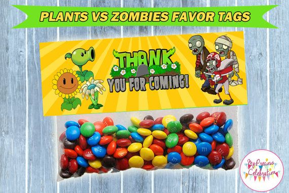 PLANTS VS ZOMBIES Favor Tags  Party favors by PreciousCelebration, $8.50