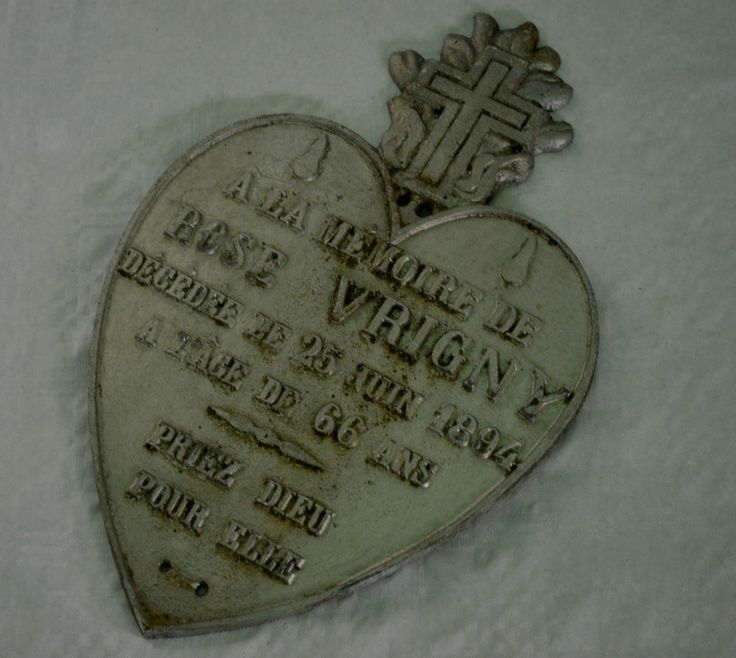 Antique French Memorial Plaque Dated 1894 ~ Heart Shaped Metal & Cross