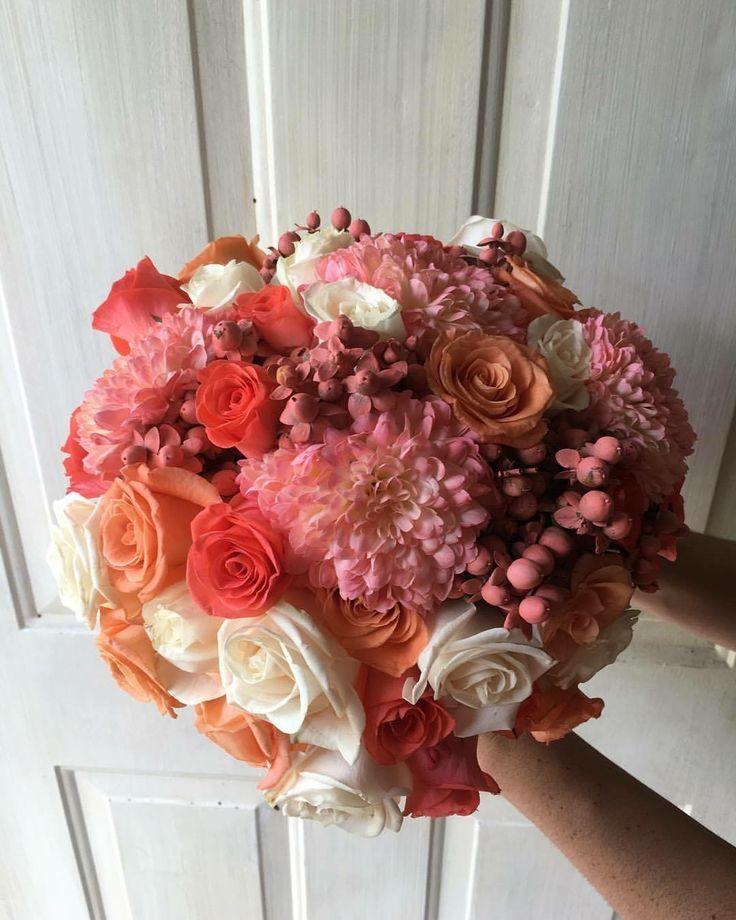 CBR427 wedding riviera maya coral, pink, Orange and ivory flowers for bride bouquet