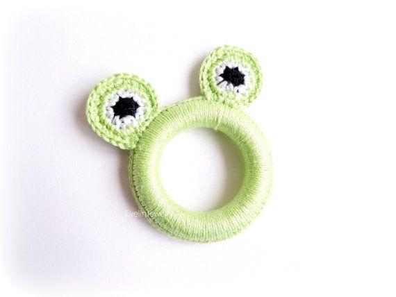 Frog Teething Ring Crochet Teether Green Teething by EvelinJewelry
