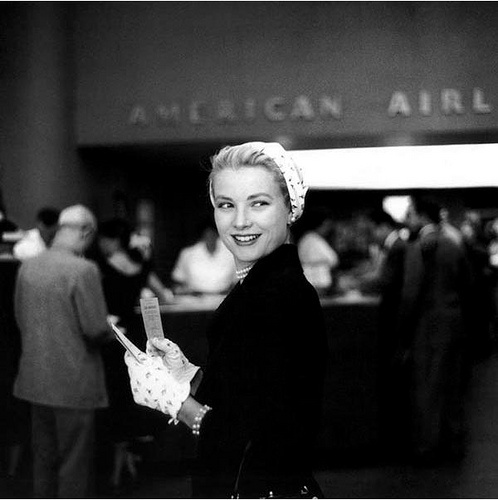 Grace Kelly at the American Airlines terminal