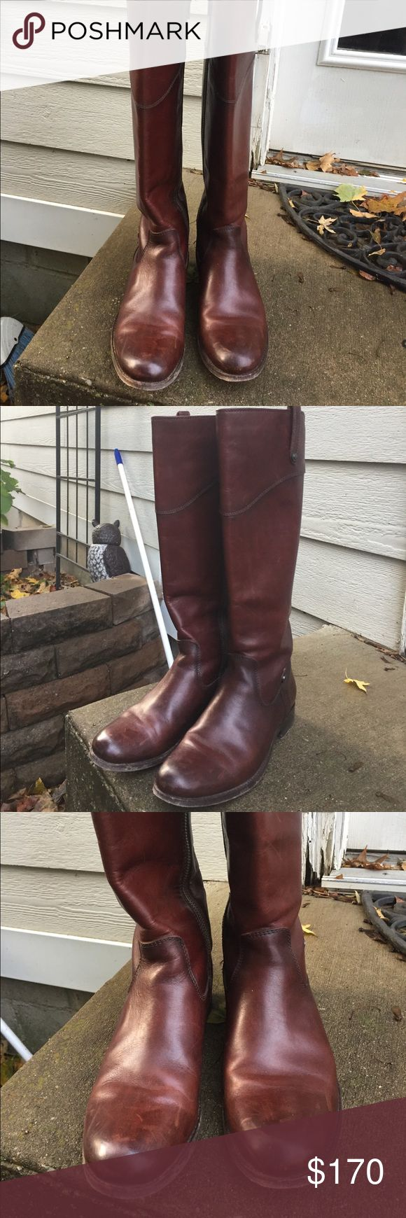 Brown Frye riding boots 7.5 Beautiful brown Frye riding boots size 7.5. Hardly worn. Imperfections are visible in pictures. Authentic. Frye Shoes
