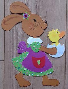 Fensterbild Tonkarton Frühling/Ostern Ein Osterhasen Mädchen mit Küken