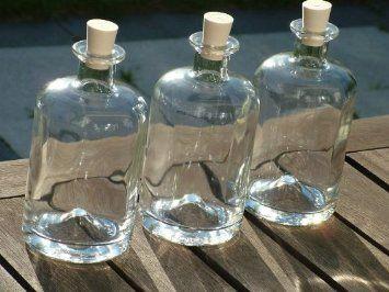 4 Stück 500ml, Apotheker Flaschen, leere Glasflaschen mit Korken, zum selbst Abfüllen, 0, 5l Liter, 50 cl, Likörflaschen, Schnapsflaschen, E...