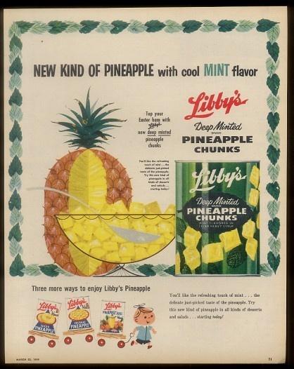 1959 Libby's Deep Minted pineapple chunks vintage print ad