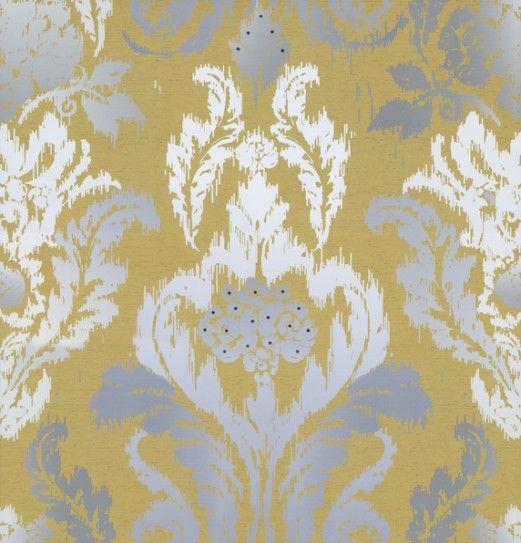 New Ikat Wallpaper Kandola Mustard Grey White
