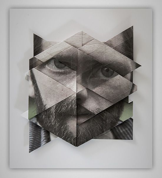 Distorted Origami Faces by Aldo Tolino
