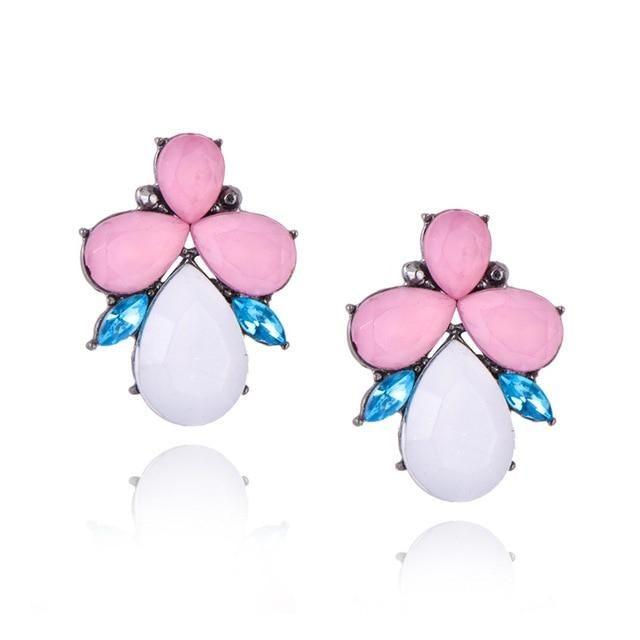 Womens Dangle Earrings New Womens Fashion Crystal Earrings Rhinestone Red Pink Glass Black Resin Sweet Metal Leaf Ear Earrings for Girl e0139