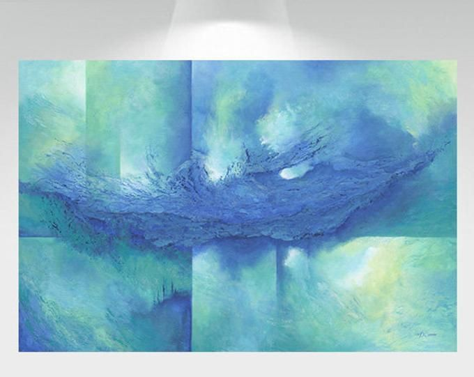 Teal Turquoise Blue Brown Wall Decor Large Abstract Canvas