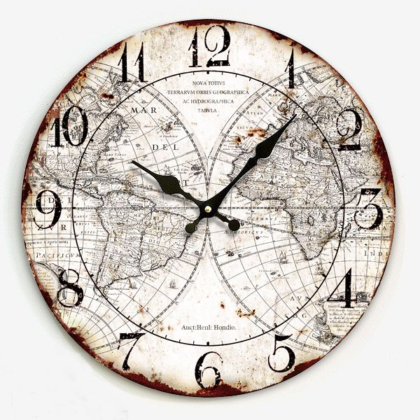 clocks home decor Wall clock fashion clock quieten fashion rustic clock map of the world  wall clock vintage US $40.04