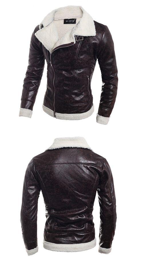 6e46aa1c128ed 47.29  Men s Daily   Weekend Fall   Winter Regular Leather Jacket ...