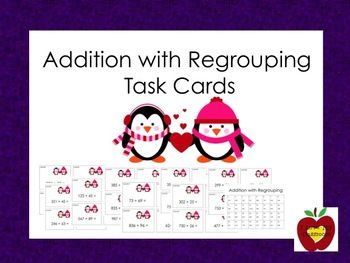 Addition with Regrouping Task Cards (Penguin)