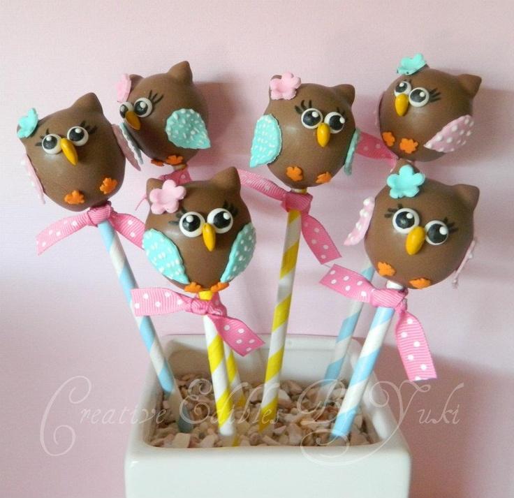 Owl cake pops, omg i love these