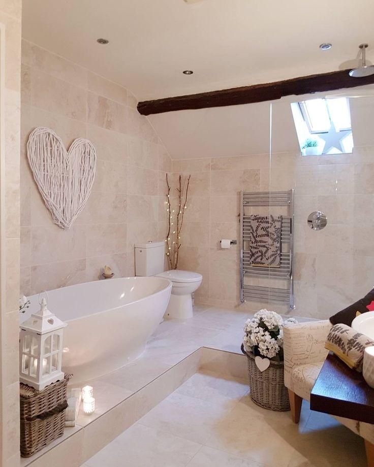 Bathroom Converted Barn White willow heart Heart lantern Round wicker basket Faux hydrangeas  Clearwater bath Country home