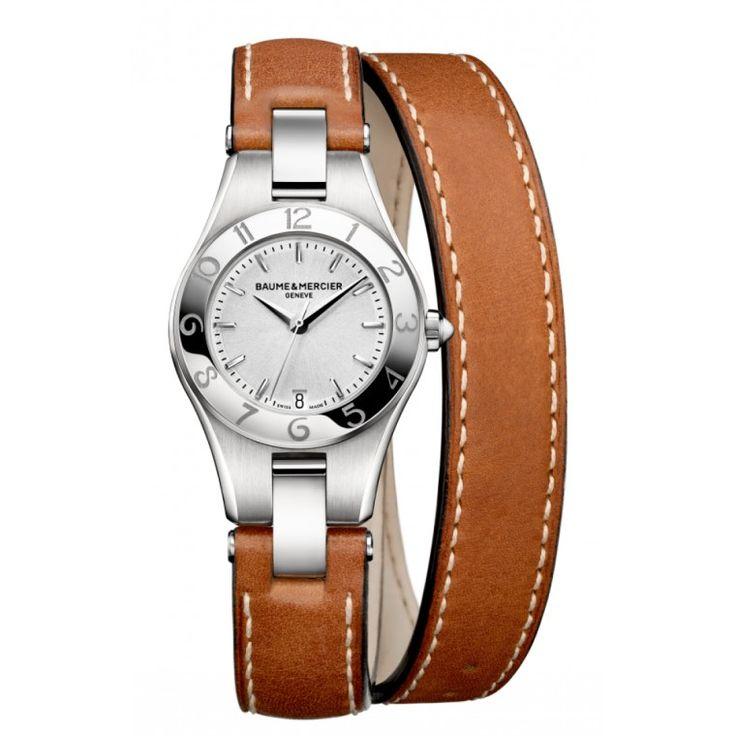 Montre à Quartz pour dame. Cadran Argenté. Bracelet double tour en cuir.