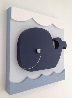 Bebé ballena náutica niños habitación decoración, ballena vivero decoración…