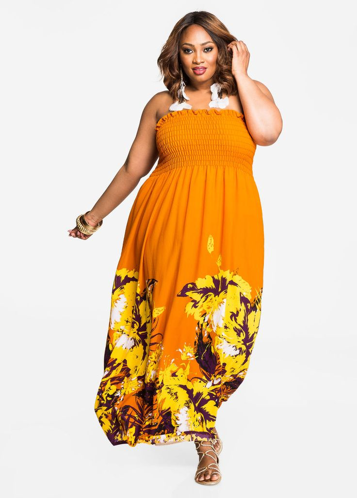 Smocked Top Tropical Print Tube Maxi Dress Smocked Top Tropical Print Tube Maxi Dress