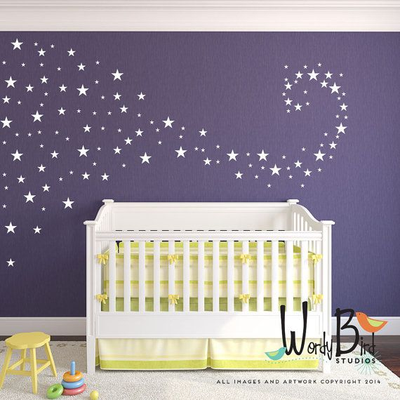 Baby Nursery Decals star confetti wall decals set of 129 Use your creativity to create any pattern you like on one accent wall or a whole room. Gives the look or wallpaper or stencils without the mess and fuss. First photo with star swirl was created using one set. Full wall Ombre look created using 2 sets on approximately a 7 foot wide space. Perfect for rentals and dorms! They are easy to apply and are removable without damaging your paint. A fun and elegant way to add some pizzazz to…