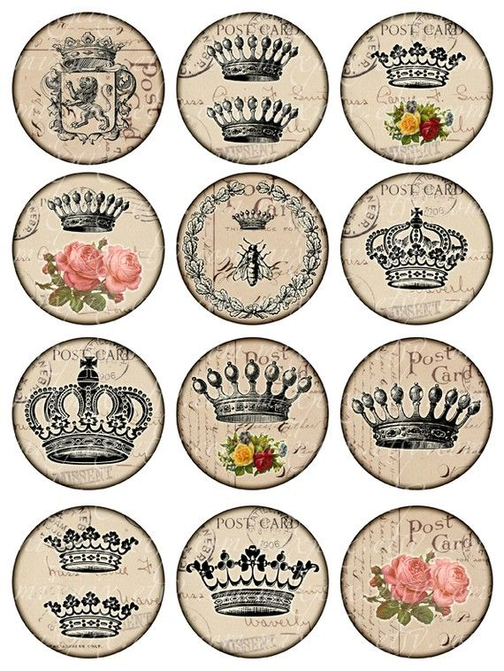 Crowns Vintage Printable Tags Digital Collage Sheet ~ Large circle images 2.5 inch round ~ Scrapbooking ephemera background ~ Download and Print