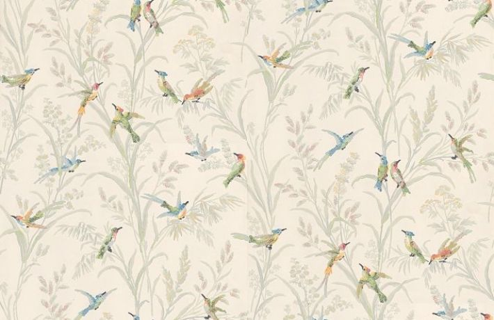 Augustine (839-T-6942) - Thibaut Wallpapers - A pretty hummingbird design with multicoloured birds on fresh white. Vinyl Coated Pre-pasted but we would recommend pasting again. Please request sample for true colour match. Narrow width.Delivery for this American wallcovering is 7-10 working days.