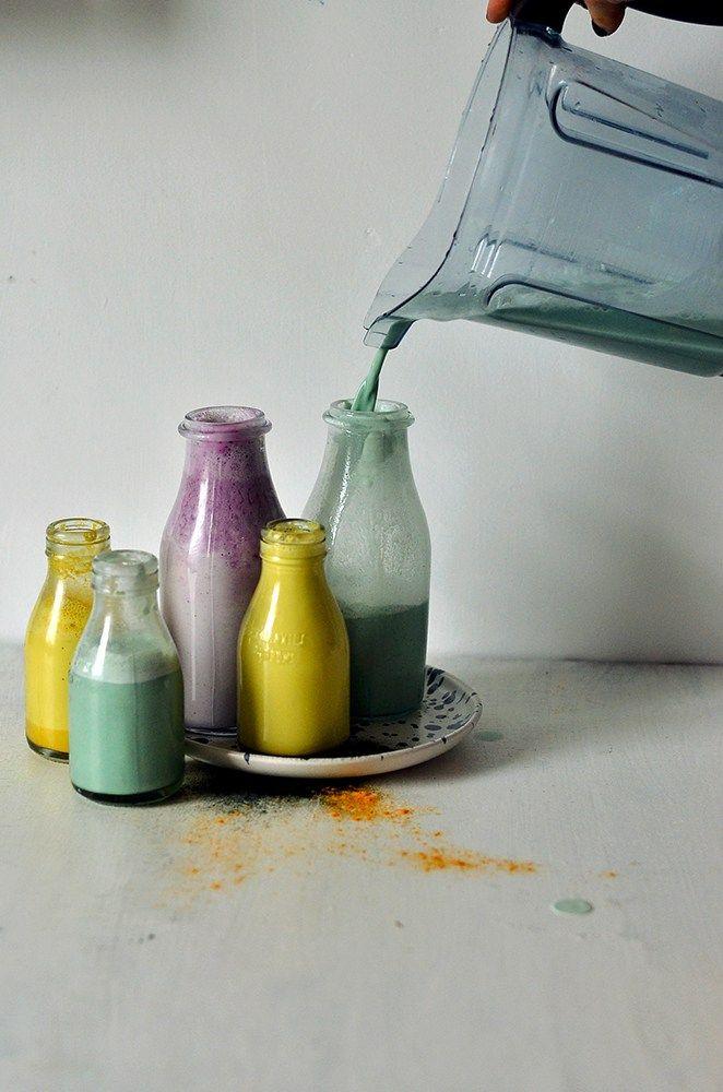 "Rainbow Superfood Nut Milks   Spirulina Coco""nut"" Almond Milk, Blueberry & Baobab Cashew Milk and Golden Turmeric & Maca Almond Milk!"