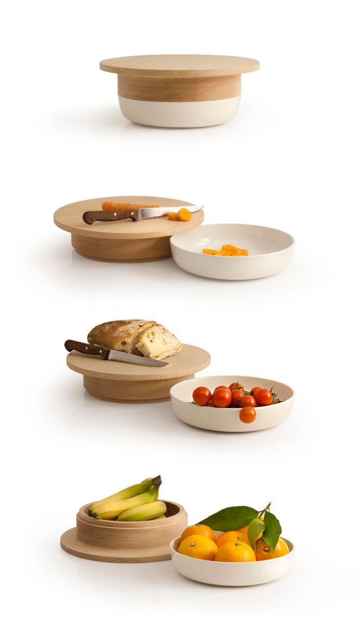 Tootsie, handmade ceramic bowl with multifunctional top, by Zpstudio Tools.