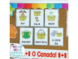 Teaching French prepositions! File includes a simple book with animals, games for centres, and writing templates!