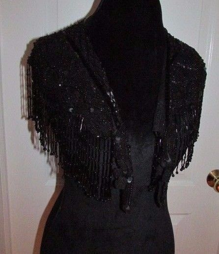 Womens Black Semi Sheer Lace Wrap Shawl With Sequins And Bead Fringe #Wrap #shawl #dandeepop Find me at dandeepop.com