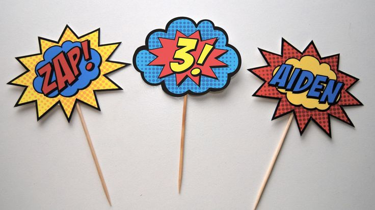 Superhero Cupcake Toppers with Name & Age by BsquaredDesign on Etsy https://www.etsy.com/listing/103010201/superhero-cupcake-toppers-with-name-age